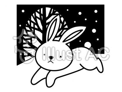 うさぎ1の無料フリーイラスト素材白黒モノクロ