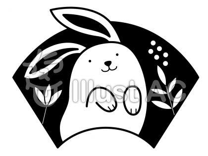 うさぎ2の無料フリーイラスト素材白黒モノクロ