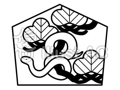 へび絵馬の無料フリーイラスト素材白黒モノクロ