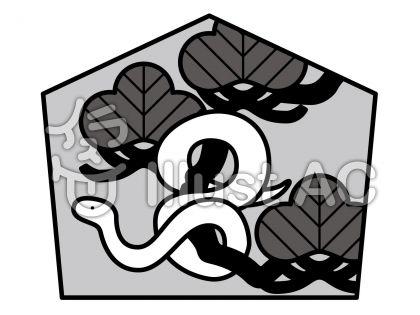 へび絵馬の無料フリーイラスト素材グレースケール
