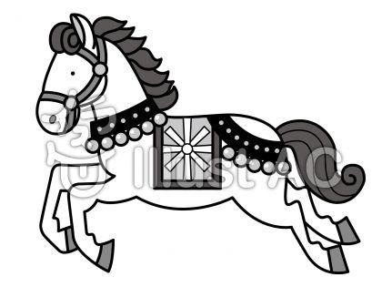馬3の無料フリーイラスト素材グレースケール