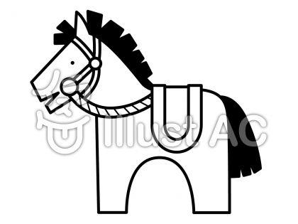 馬4の無料フリーイラスト素材白黒モノクロ