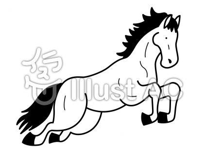 馬5の無料フリーイラスト素材白黒モノクロ