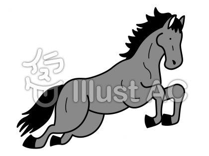 馬5の無料フリーイラスト素材グレースケール
