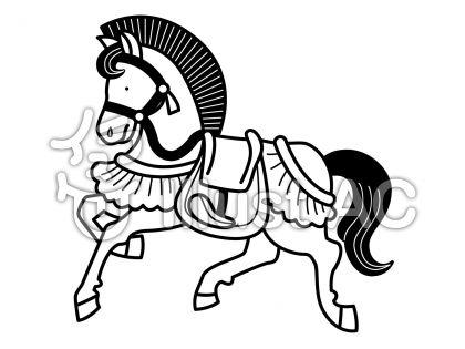 馬6の無料フリーイラスト素材白黒モノクロ