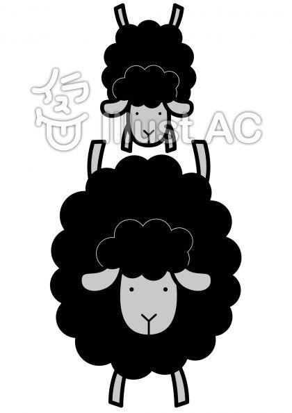 羊3の無料フリーイラスト素材グレースケール