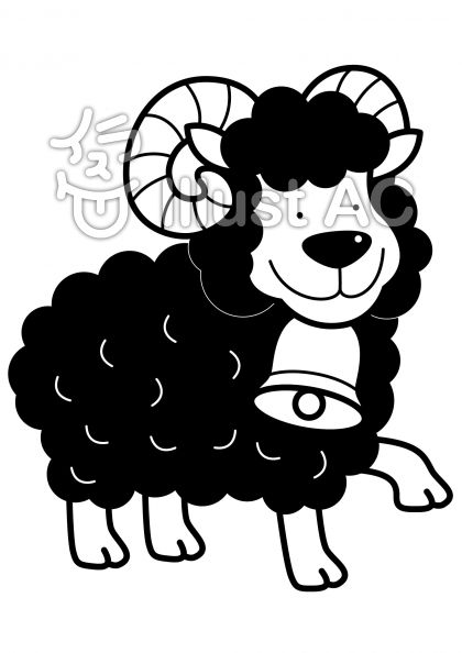 羊4の無料フリーイラスト素材白黒モノクロ