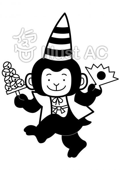 猿回しの無料フリーイラスト素材白黒モノクロ