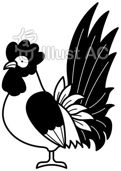 鶏3の無料フリーイラスト素材白黒モノクロ
