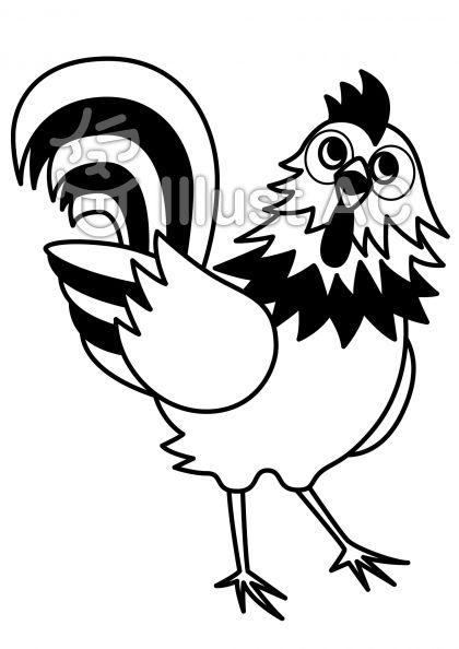 鶏4の無料フリーイラスト素材白黒モノクロ
