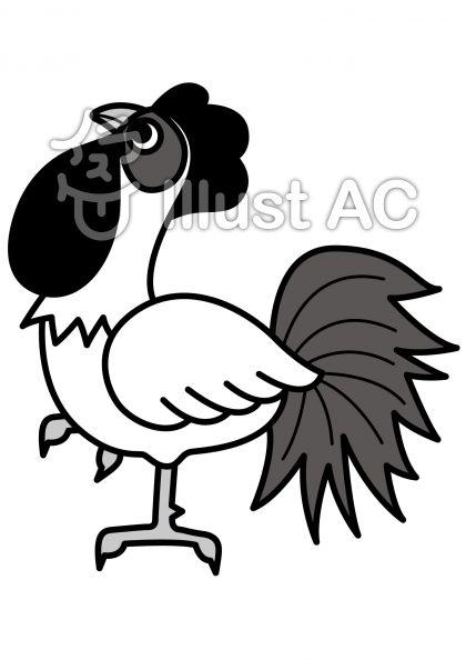 鶏5の無料フリーイラスト素材グレースケール