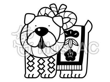 土佐犬の無料フリーイラスト素材白黒モノクロ