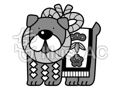土佐犬の無料フリーイラスト素材グレースケール