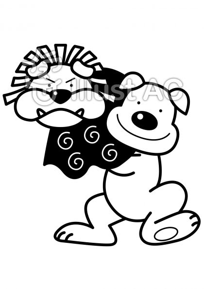犬の獅子舞の無料フリーイラスト素材白黒モノクロ