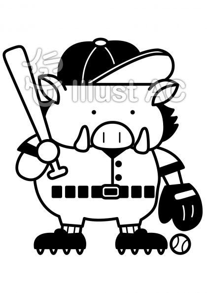 イノシシ野球の無料フリーイラスト素材白黒モノクロ