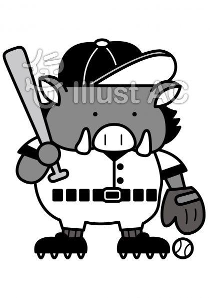 イノシシ野球の無料フリーイラスト素材グレースケール