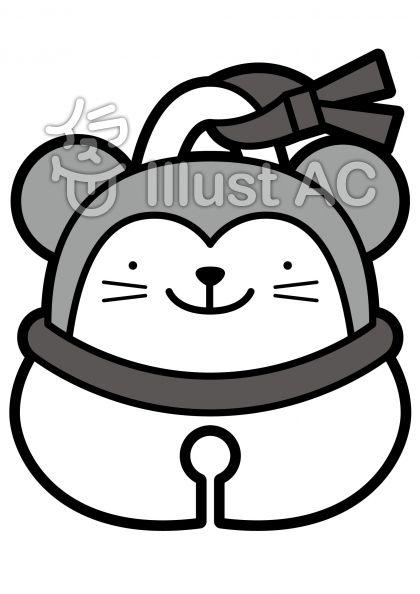 鈴-ネズミの無料フリーイラスト素材グレースケール