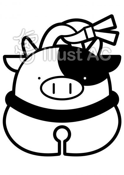 鈴-ウシの無料フリーイラスト素材白黒モノクロ