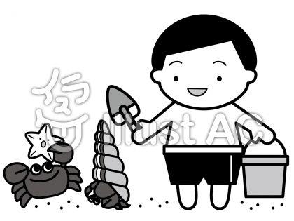 カニとヤドカリの無料フリーイラスト素材グレースケール
