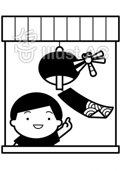 風鈴とトンボの無料フリーイラスト素材白黒モノクロ