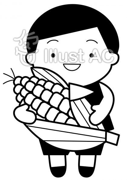トウモロコシの無料フリーイラスト素材白黒モノクロ
