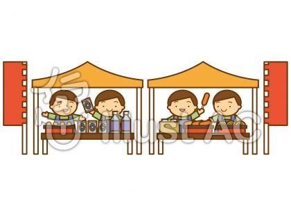屋台テント群衆の無料フリーイラスト素材
