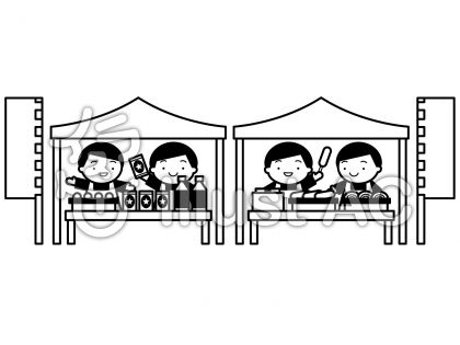 屋台テント群衆の無料フリーイラスト素材白黒モノクロ