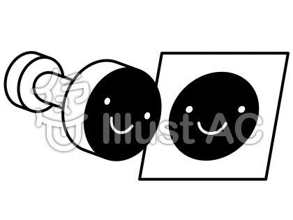 スタンプの無料フリーイラスト素材白黒モノクロ
