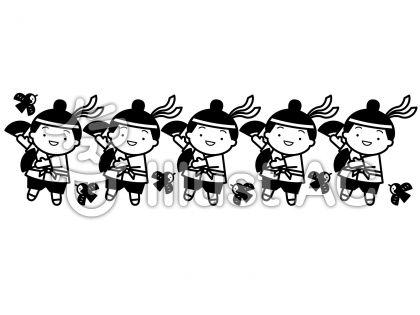 すずめ踊りの無料フリーイラスト素材白黒モノクロ
